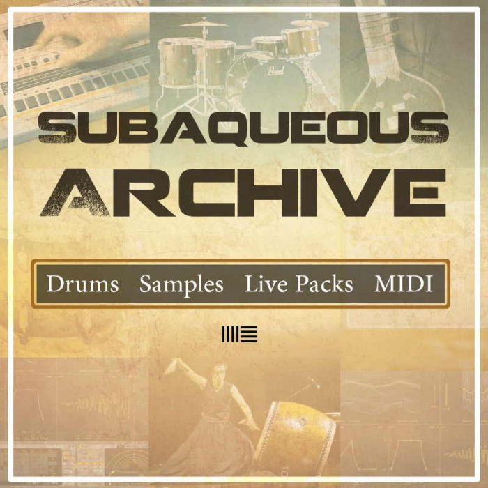 Cover for live pack library with pictures of music instruments in background
